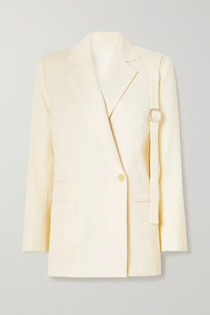 Cream Double-breasted wool-twill blazer | Commission | NET-A-PORTER