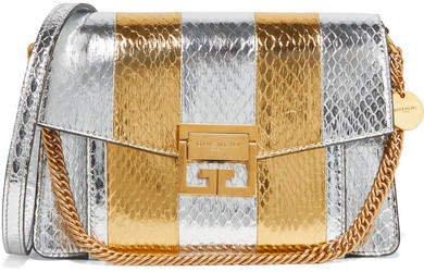 Gv3 Small Metallic Watersnake Shoulder Bag - Silver