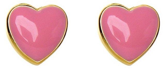 heart stud earrings pink