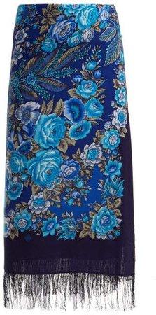Rose Print Scarf Wool Midi Skirt - Womens - Blue Multi