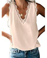 BLENCOT Women's V Neck Lace Trim Tank Tops Casual Loose Sleeveless Blouse Shirts at Amazon Women's Clothing store
