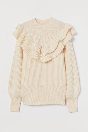 Flounced rib-knit jumper - Light beige - Ladies | H&M GB