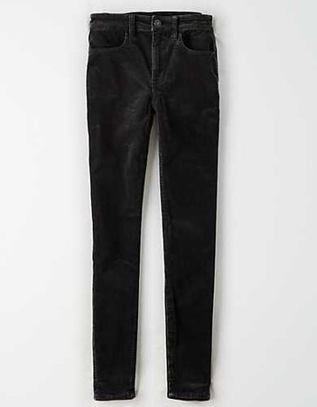 High-Waisted Corduroy Jegging black