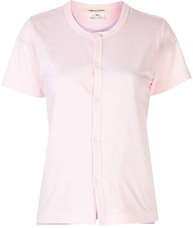buttoned round-neck T-shirt