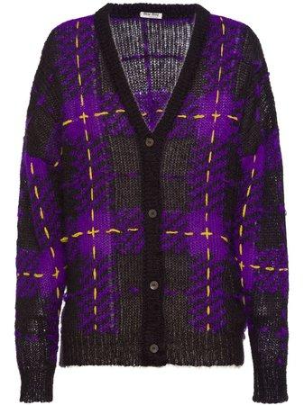 Miu Miu Tartan Knit Cardigan MMF1901VS5 Purple | Farfetch
