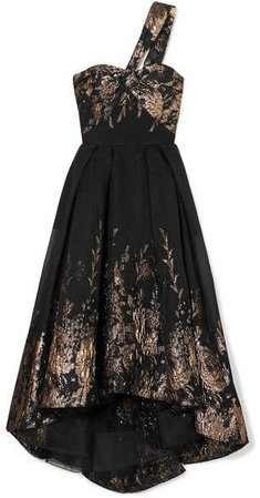 One-shoulder Metallic Fil Coupé Cloqué Gown - Black