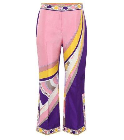 Printed High-Rise Silk-Satin Pants - Emilio Pucci | Mytheresa