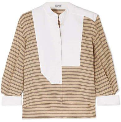 Cutout Poplin-paneled Striped Cotton-blend Shirt - Beige