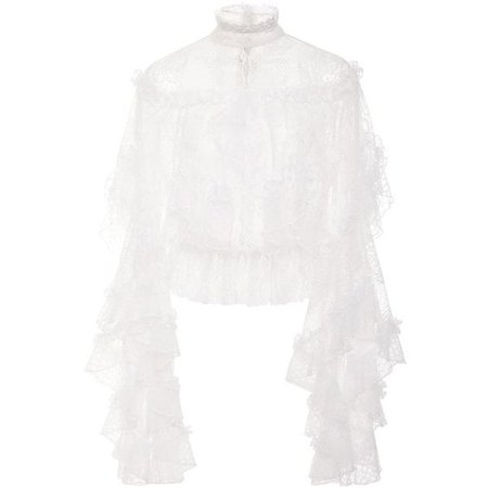Rodarte Off-White Lace and Honeycomb Tiered Ruffle Blouse
