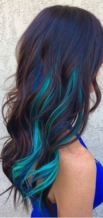 brown hair with blue streaks