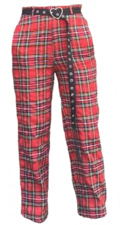 red plaid pants w/ black belt and heart buckle