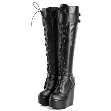 Black Knee High Wedge Boots