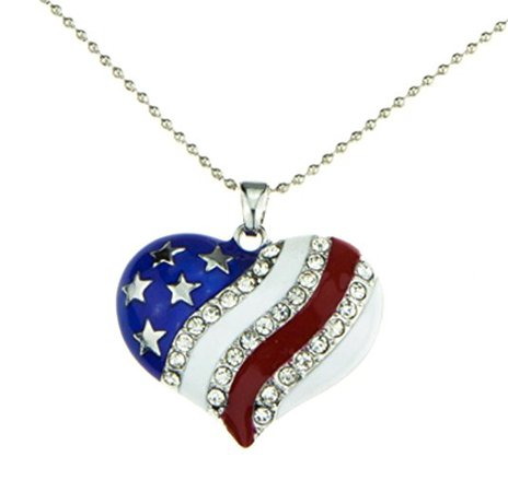 Amazon.com: Patriotic Jewelry American Flag Red White Blue Heart Necklace Pendant Crystal Stars and Stripes: Jewelry