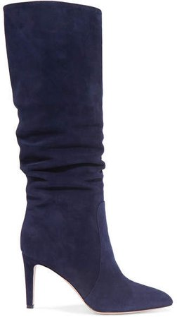 85 Suede Knee Boots - Navy