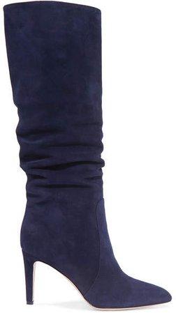 85 Suede Knee Boots - Navy