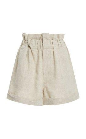 Ducky High-Rise Linen Shorts By Posse   Moda Operandi