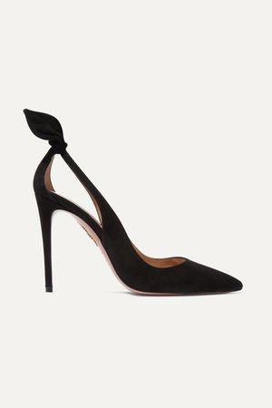 Black Bow Tie 105 suede pumps | Aquazzura | NET-A-PORTER