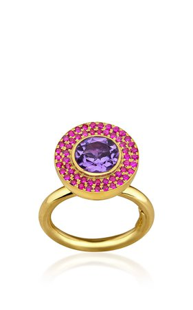 Elena Votsi Cyclos Ring With Rubies And Amethyst