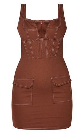 Chocolate Utility Pocket Detail Contrast Stitch Bodycon Dress   PrettyLittleThing USA