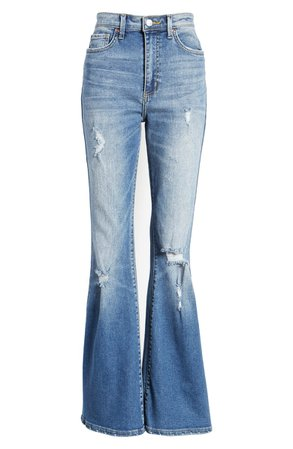 Lee Distressed High Waist Flare Jeans (Great Plains) | Nordstrom