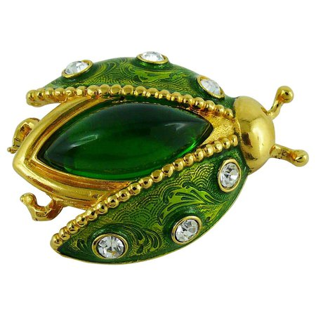 Christian Dior Vintage Rare Jeweled Ladybug Brooch at 1stDibs
