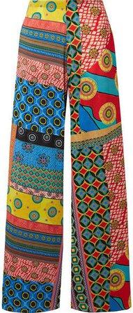 Alice Olivia - Athena Printed Crepe De Chine Wide-leg Pants - Blue