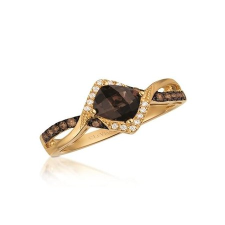 14k Yellow Gold Chocolate Quartz, White and Brown Diamond Ring | Rings
