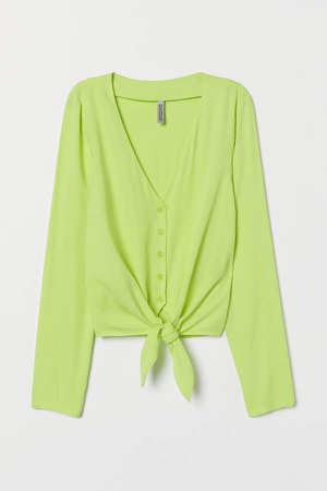 Tie-front V-neck Blouse - Yellow