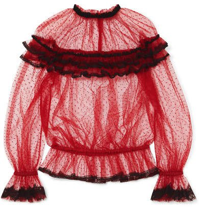 Ruffled Lace-trimmed Point D'esprit Tulle Blouse - Red