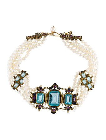 Percossi Papi Blue Topaz, Amethyst & Pearl Multistrand Choker - Necklaces - PEP20033 | The RealReal
