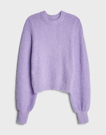 Faux fur sweater - Sweaters and Cardigans - Woman   Bershka purple