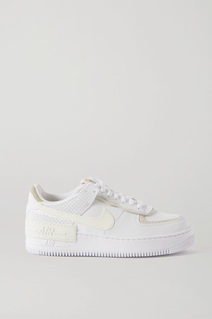 Air Force 1 Shadow Suede-trimmed Leather Sneakers - White
