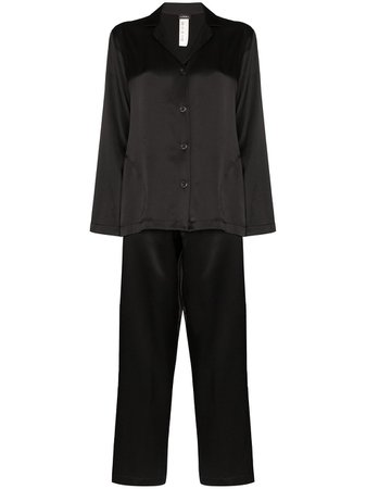 Black La Perla silk pyjama set - Farfetch