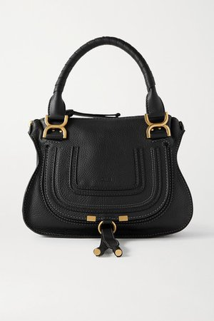 Marcie Small Textured-leather Tote - Black