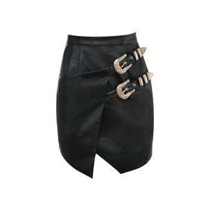 HOUSE OF CB (80$)  Kira Black Vegan Leather Belted Mini Skirt