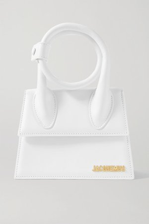 Le Chiquito Noeud Leather Shoulder Bag - White