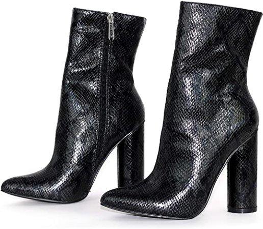 Cape Robbin Boas Women's Ankle Boots, Synthetic Snakeskin, Women's Chunky Heels black