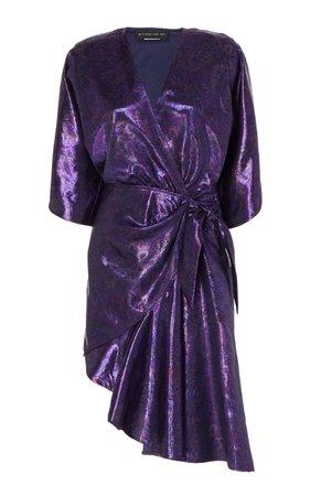 Etro Metallic Paisley Wrap Mini Dress