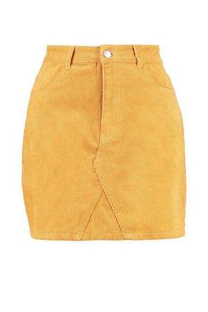 Micro Mini Cord Skirt Yellow