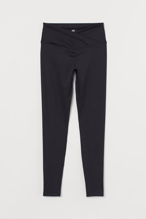 Wrapover-waist Sports Leggings - Black