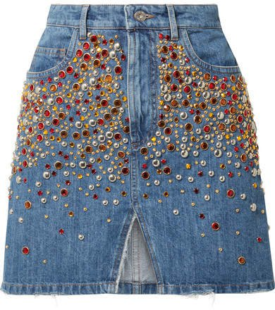 Embellished Denim Mini Skirt - Blue