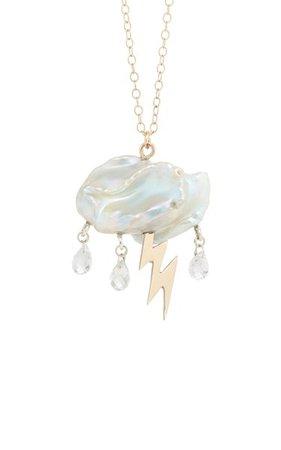 Storm Cloud Pearl 14k Yellow Gold Necklace By Rachel Quinn   Moda Operandi