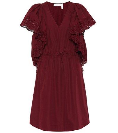 Lace-trimmed cotton dress