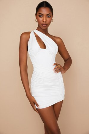 Clothing : Bodycon Dresses : 'Clementine' White Cut Out Mini Dress