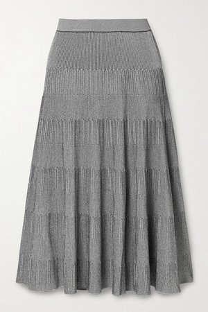 Ribbed-knit Midi Skirt - Gray
