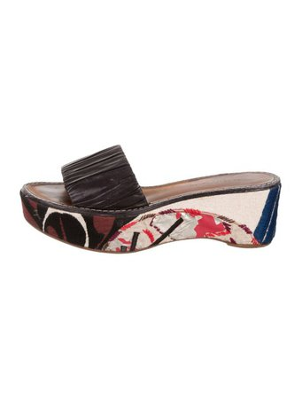Dries Van Noten Printed Leather Slide Sandals - Shoes - DRI54722 | The RealReal