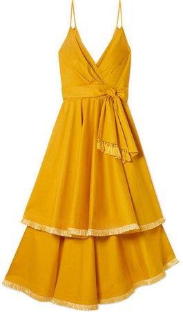 Ladies Who Lunch Tiered Fringed Cotton-blend Poplin Midi Dress - Mustard
