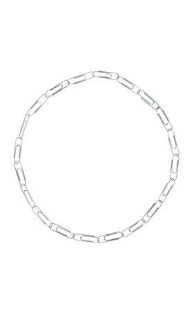 18K White Gold Paper Clip Necklace by Nadine Ghosn | Moda Operandi