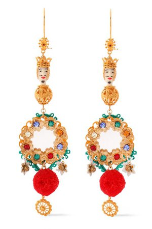Gold-tone, resin, cord and crystal earrings | DOLCE & GABBANA
