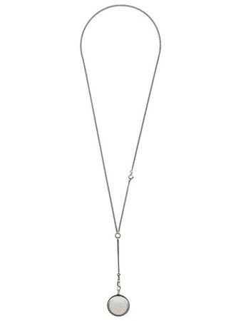 Silver Ann Demeulemeester Loose Crystal Pendant Necklace | Farfetch.com